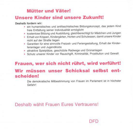 Ausschnitt aus einem DFD-Flugblatt